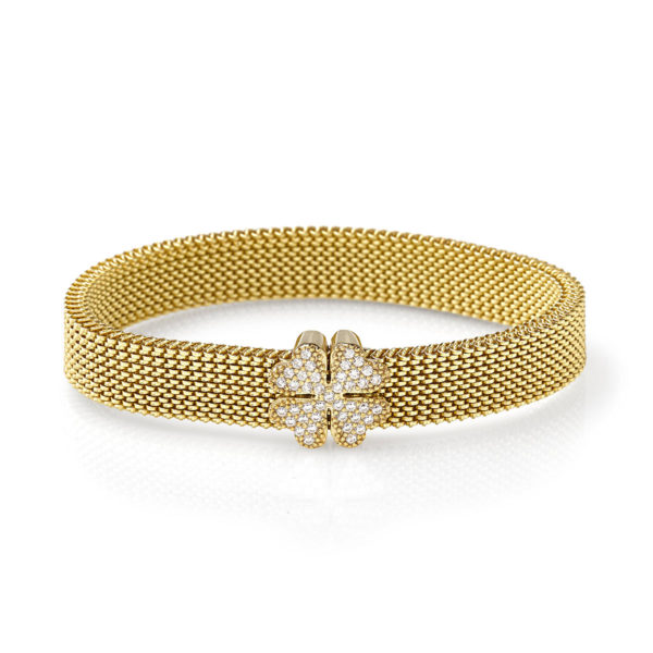 Bracciale-simbolo-quadrifoglio-oro-flex-roan-preziosi-gioielli