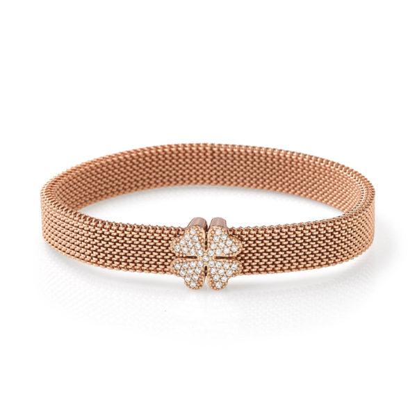 Bracciale-simbolo-quadrifoglio-rosa-flex-roan-preziosi-gioielli